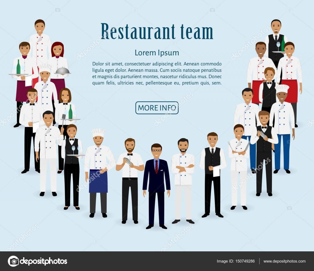 Equipo de restaurante grupo de gerente chef camareros for Equipo para chef