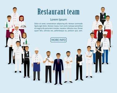 Restaurant team. Group of manager, chef, waiters, cook, bartenders standing together. Food service staff website banner.