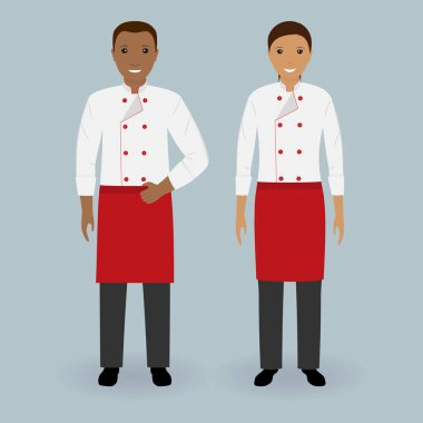 Couple of male and female chefs standing together in uniform. Cooking food characters. Restaurant team concept.