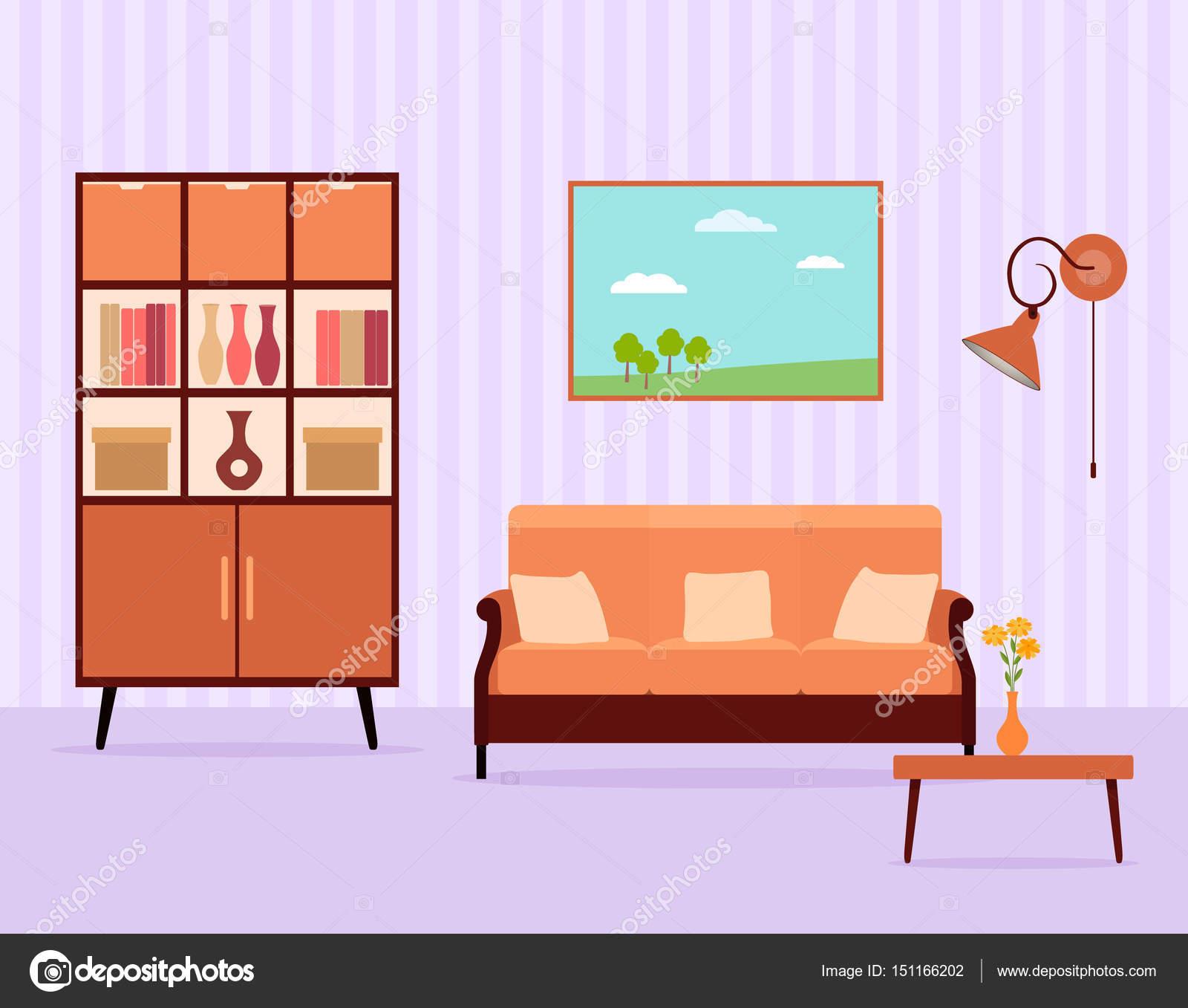 Wohnzimmer Innenraum Design Im Flachen Stil Einschließlich Möbel, Schrank,  Sofa, Tisch, Lampe