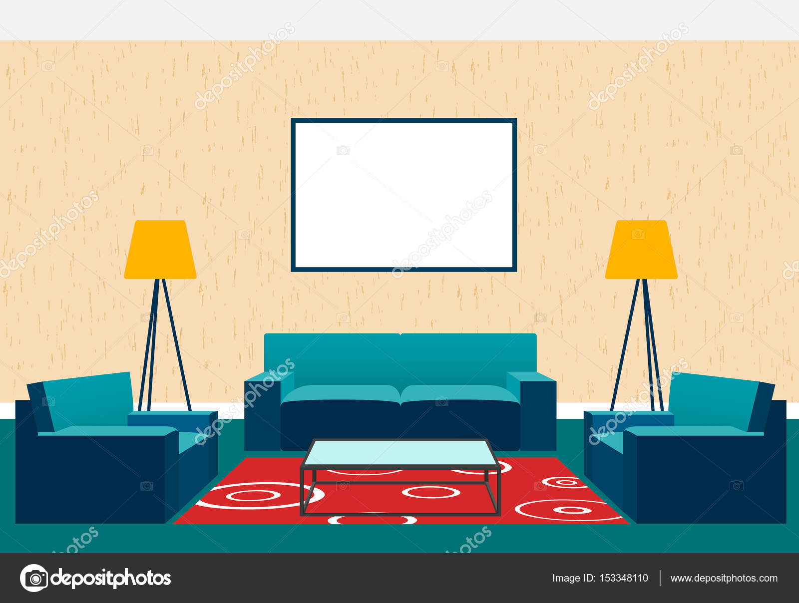 Diseño de interiores de sala de estar estilo plano como sillones y ...