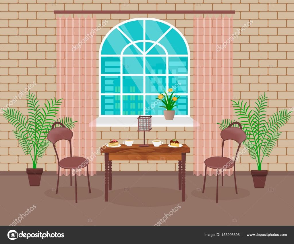 Loft interieur. Woonkamer met bakstenen muur, tafel, stoelen, warme ...