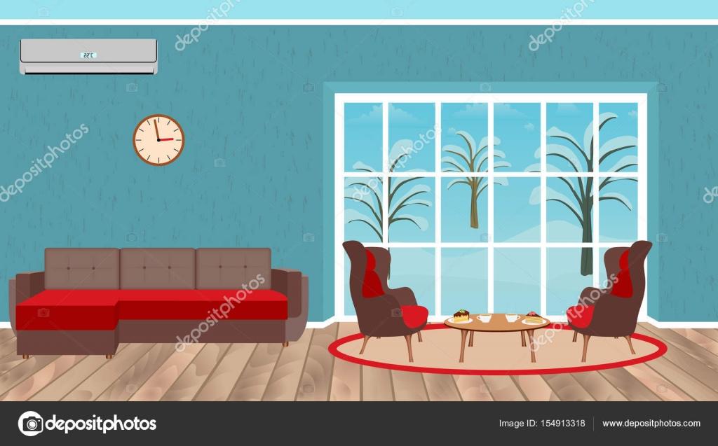 Innenarchitektur Wohnzimmer Mit Sofa, Sesseln, Desserttisch, Klimaanlage  Und Landschaft Vor Dem Fenster U2014