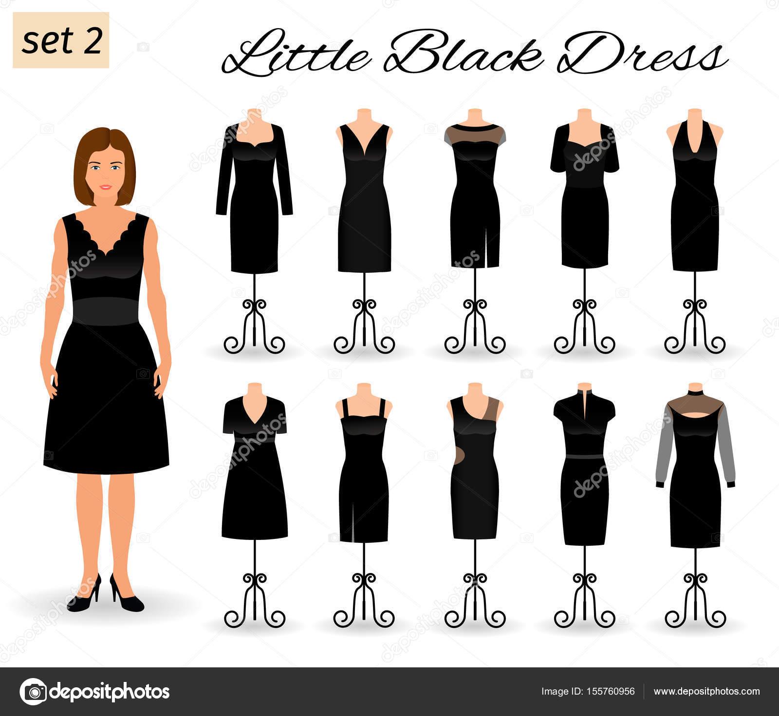 Populair Mode vrouw teken in kleine zwarte jurk. Avond jurken voor cocktail &ZE01