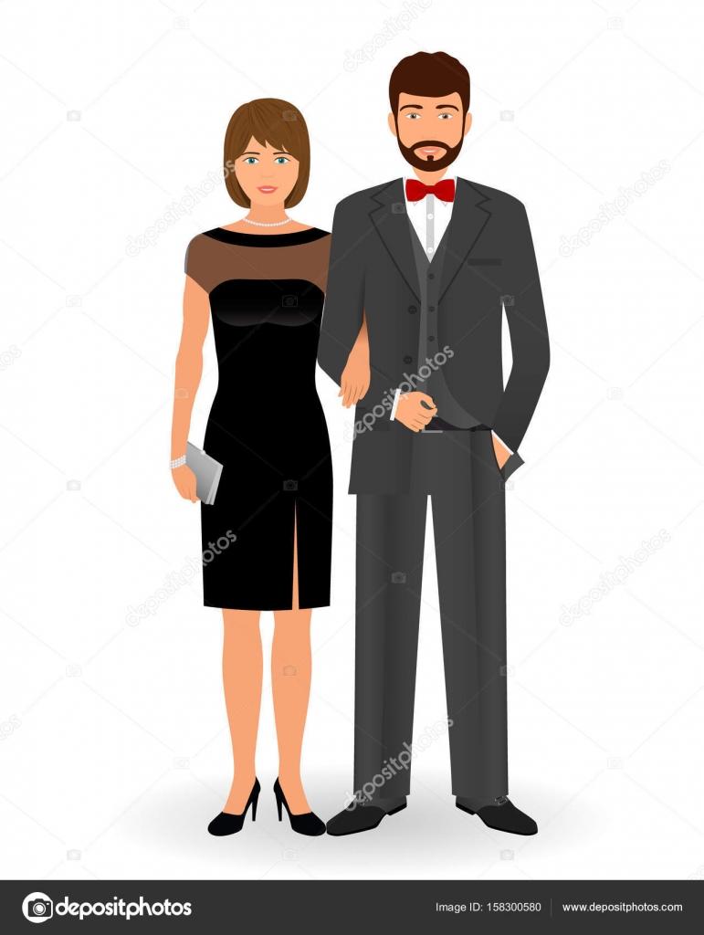 Männliche und weibliche Paar in eleganter Kleidung für offizielle ...