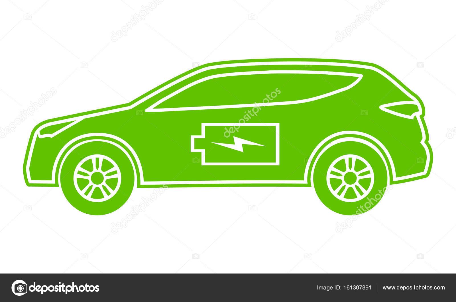 Hybrid-Auto Grün-Symbol. Elektrisch betriebene ökologische Fahrzeug ...
