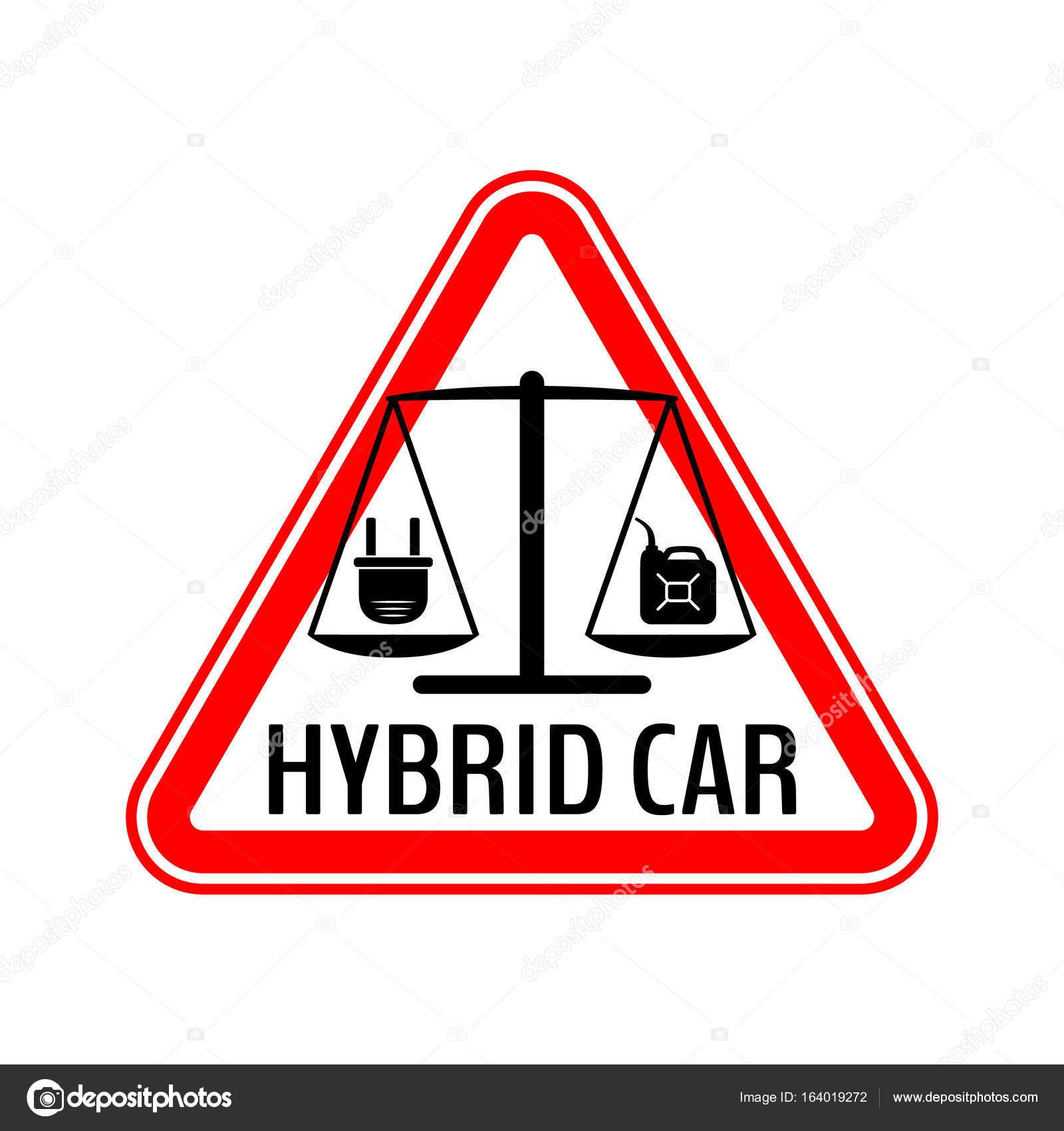 Hybrid-Auto-Vorsicht-Aufkleber. Sparen Sie Energie Automobil ...