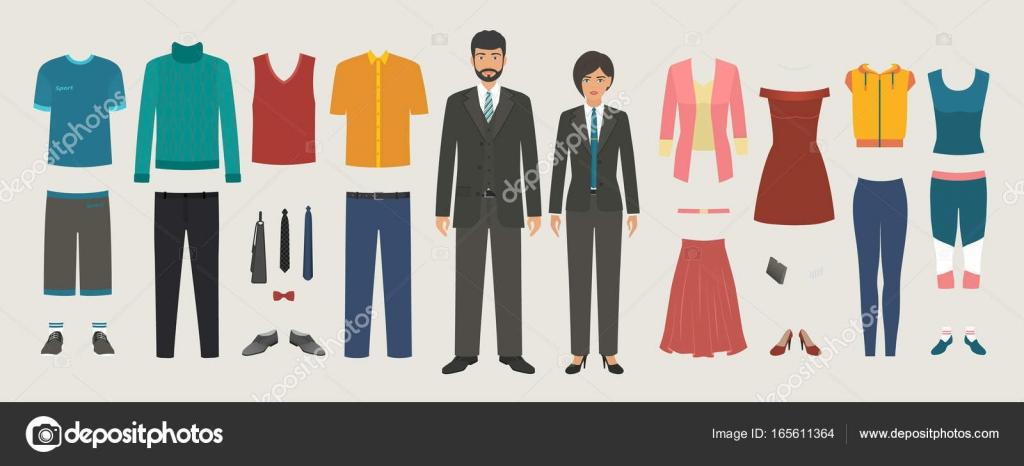 Personajes Hombre Y Mujer Con Business Casual Deporte De