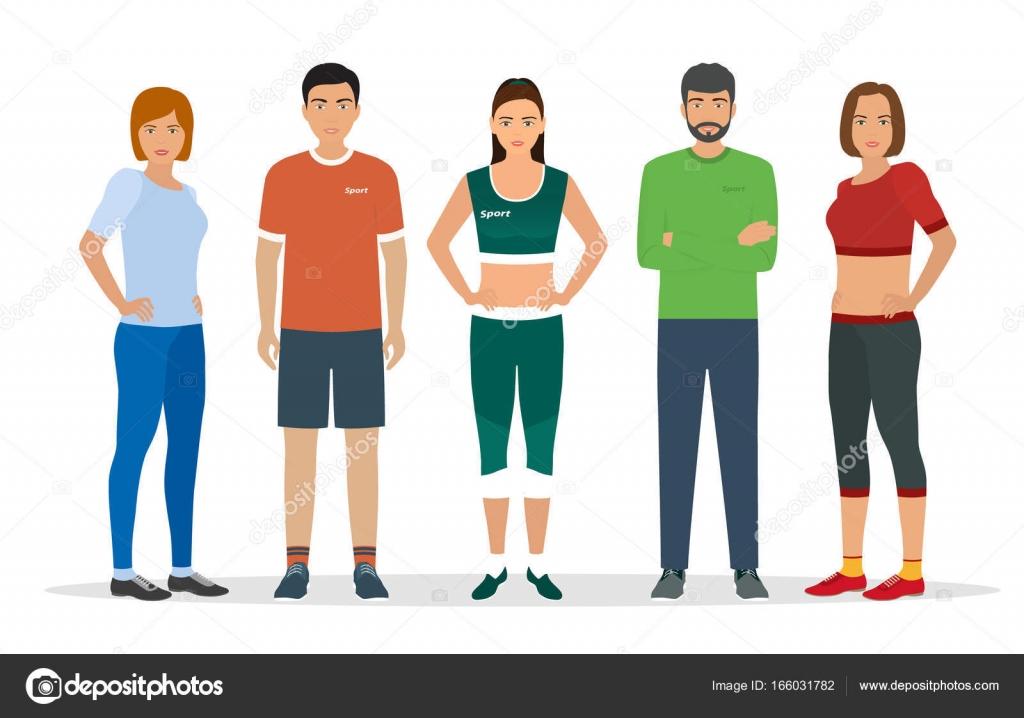 Grupo de personas en ropa deportiva para ejercicios en for Deportivas para gimnasio