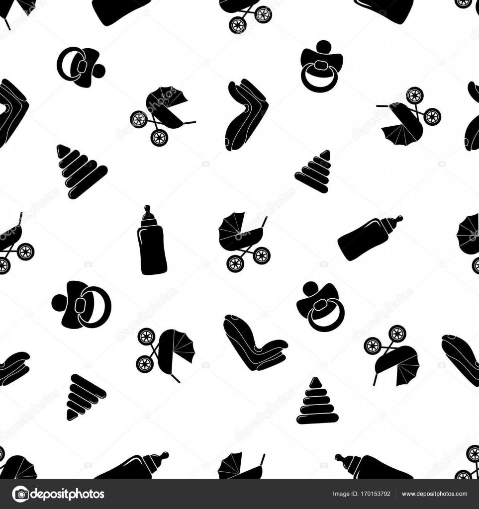 Patrón blanco y negro sin costura de niño con cochecito, sillita ...