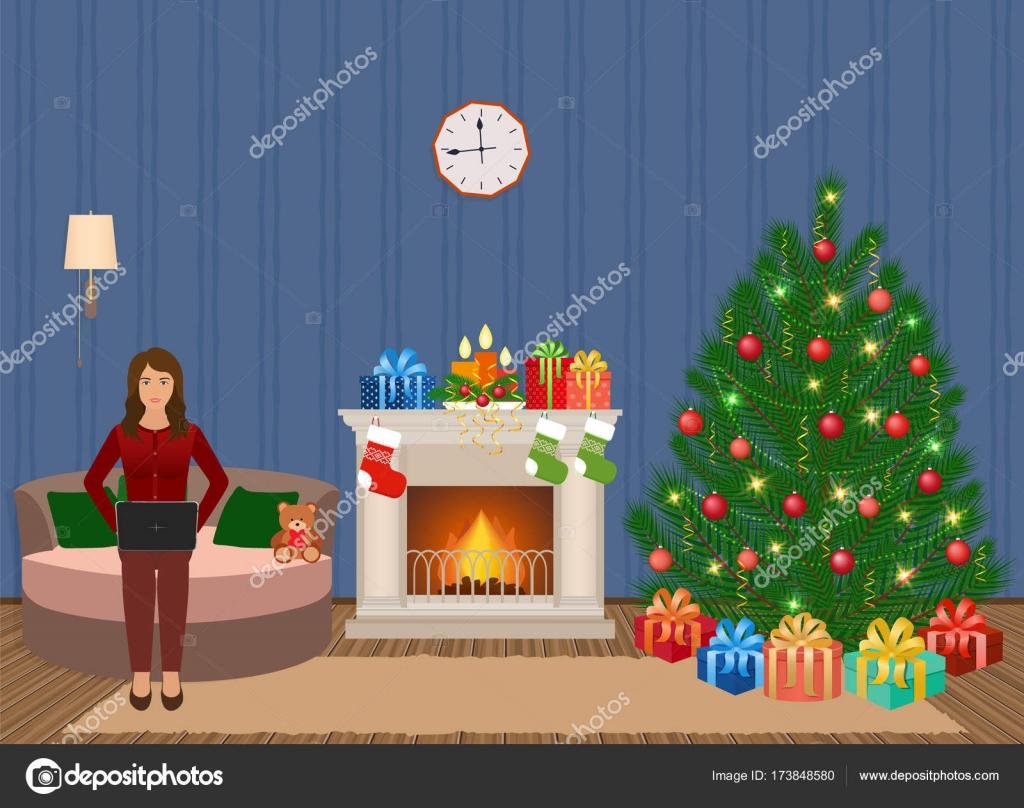 woonkamer kerst versierd interieur met vrouw die op laptop werkt mensen thuis in xmas eve