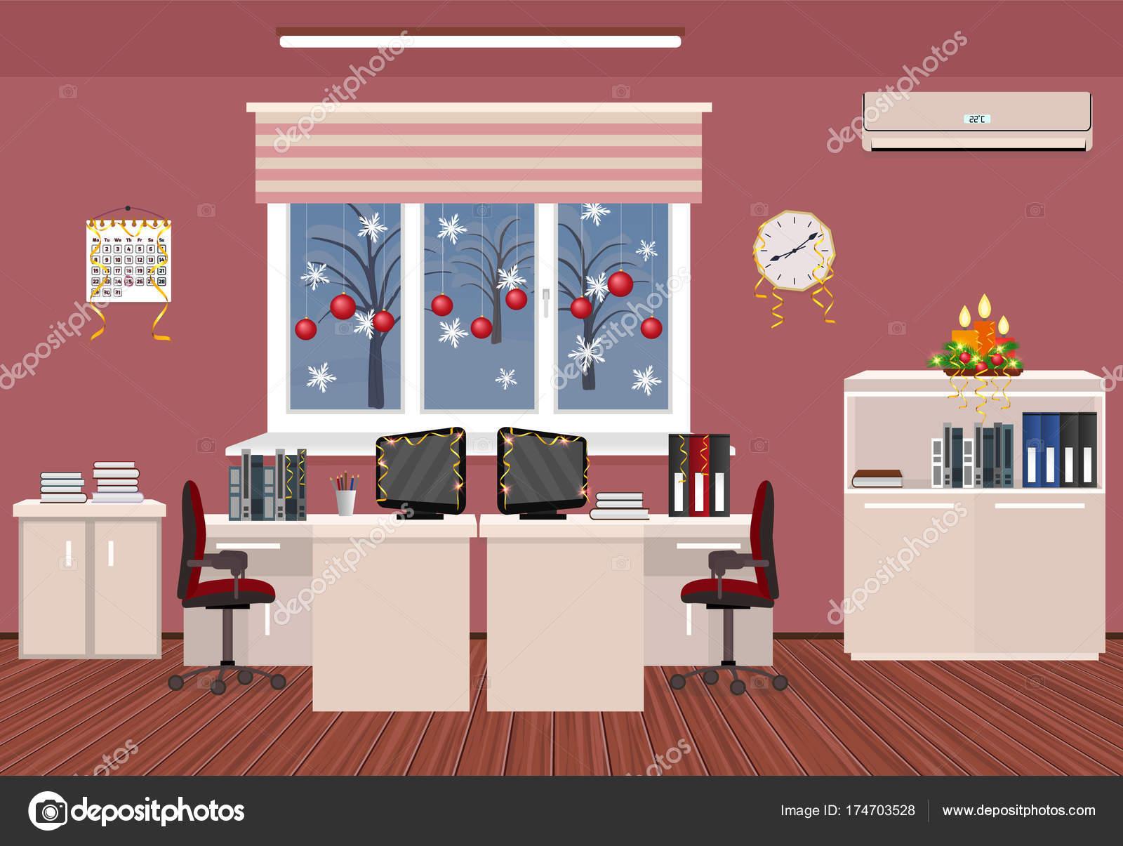 Ufficio Disegno Yoga : Interiore di camera di vacanza dellufficio. disegno di natale di