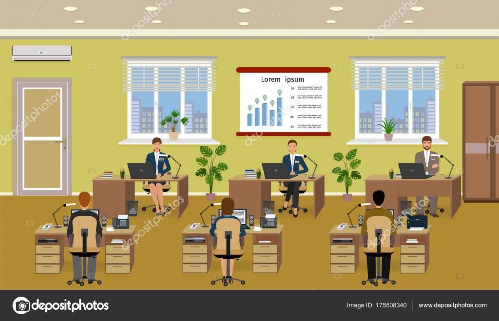 Intérieur de chambre bureau avec nombreux travail employé les