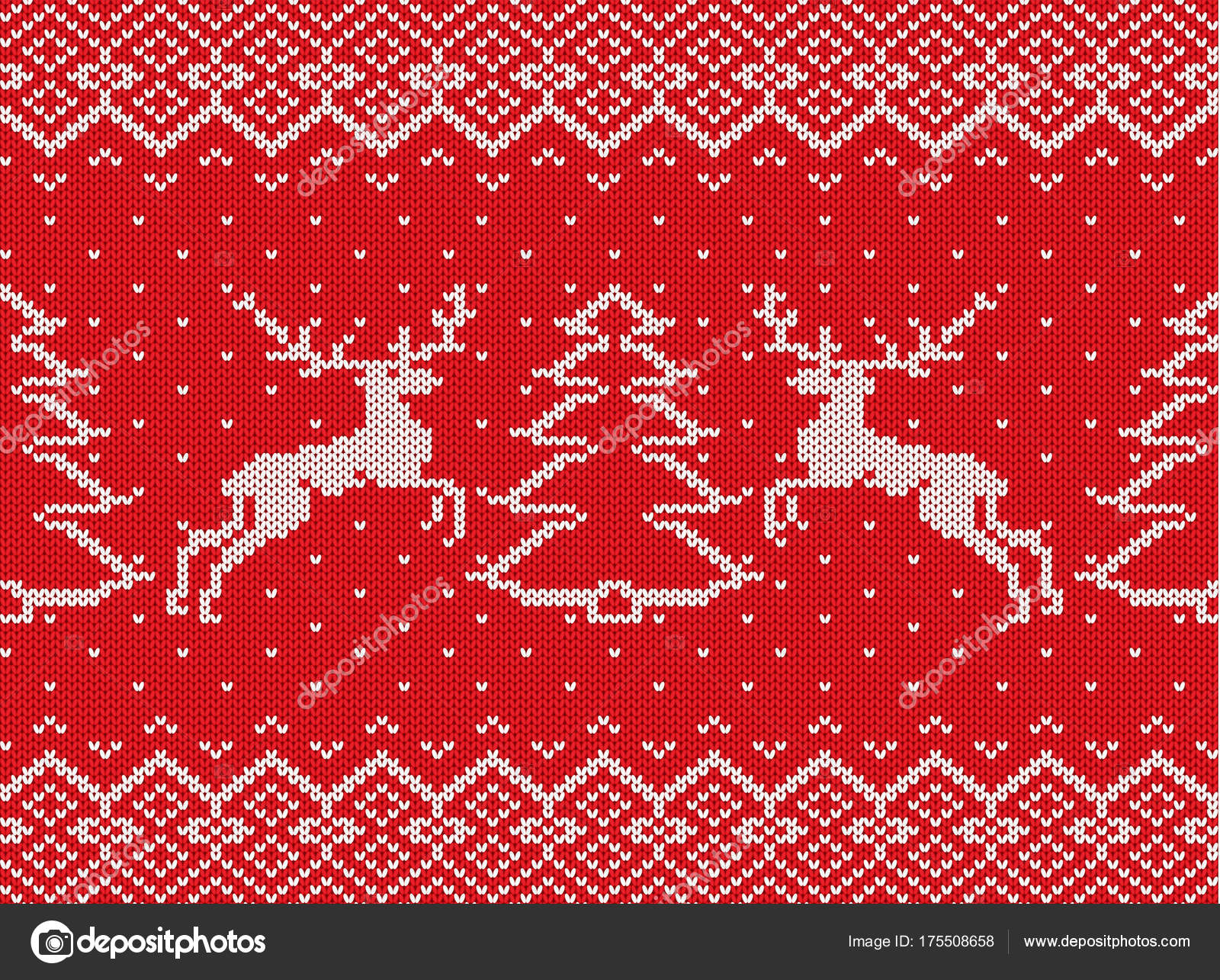 Christmas Texture.Knitted Christmas Texture With Deers Christmas Trees And