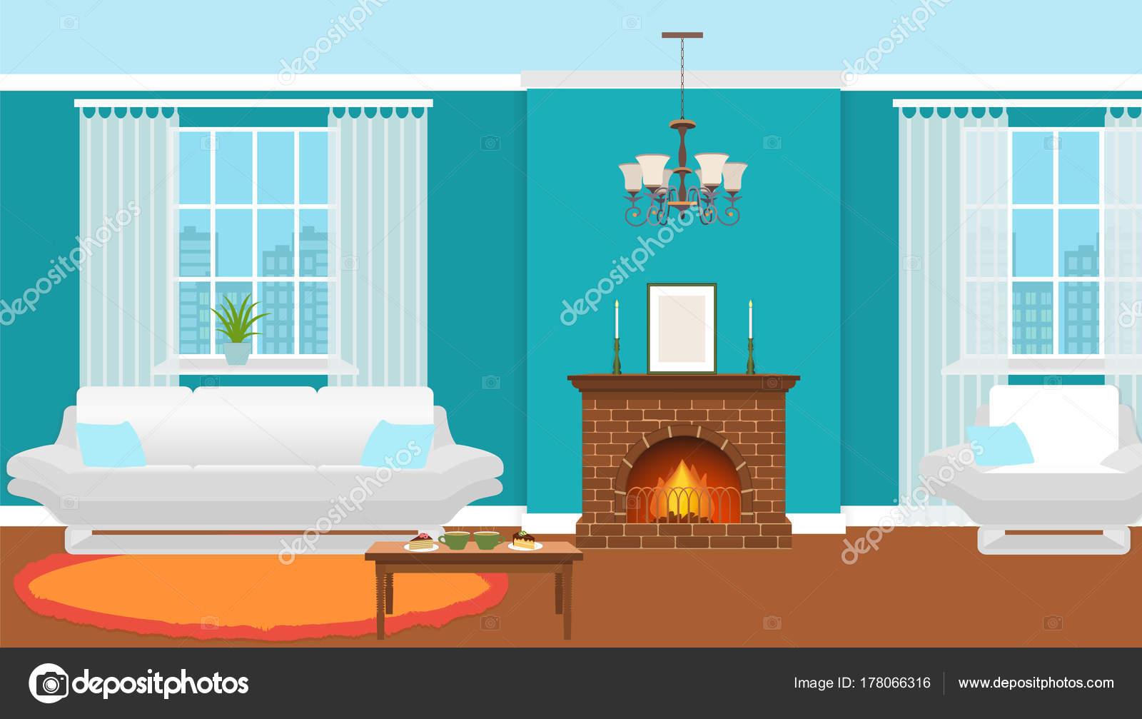 Wohnzimmer eingerichtet mit Kamin, Möbel und Fenster. Wohnraum ...