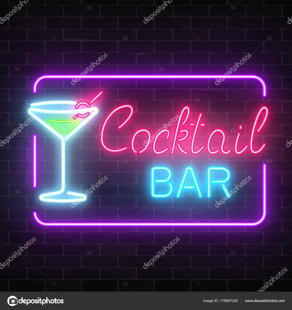 Neon-cocktail-Bar und Café Glühen zu unterzeichnen, mit ...