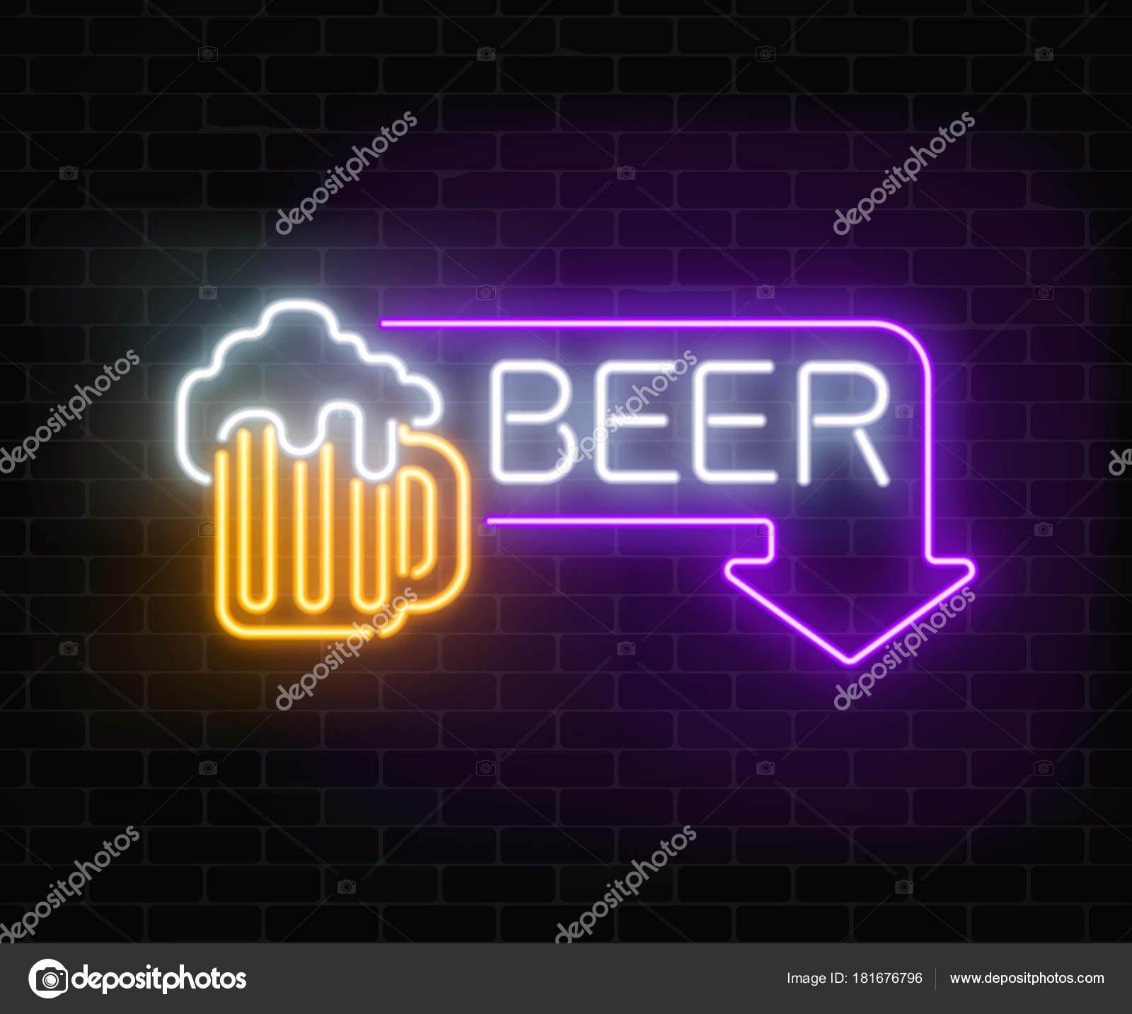 Brillante letrero de neon cerveza pub en marco de rectángulo con la ...