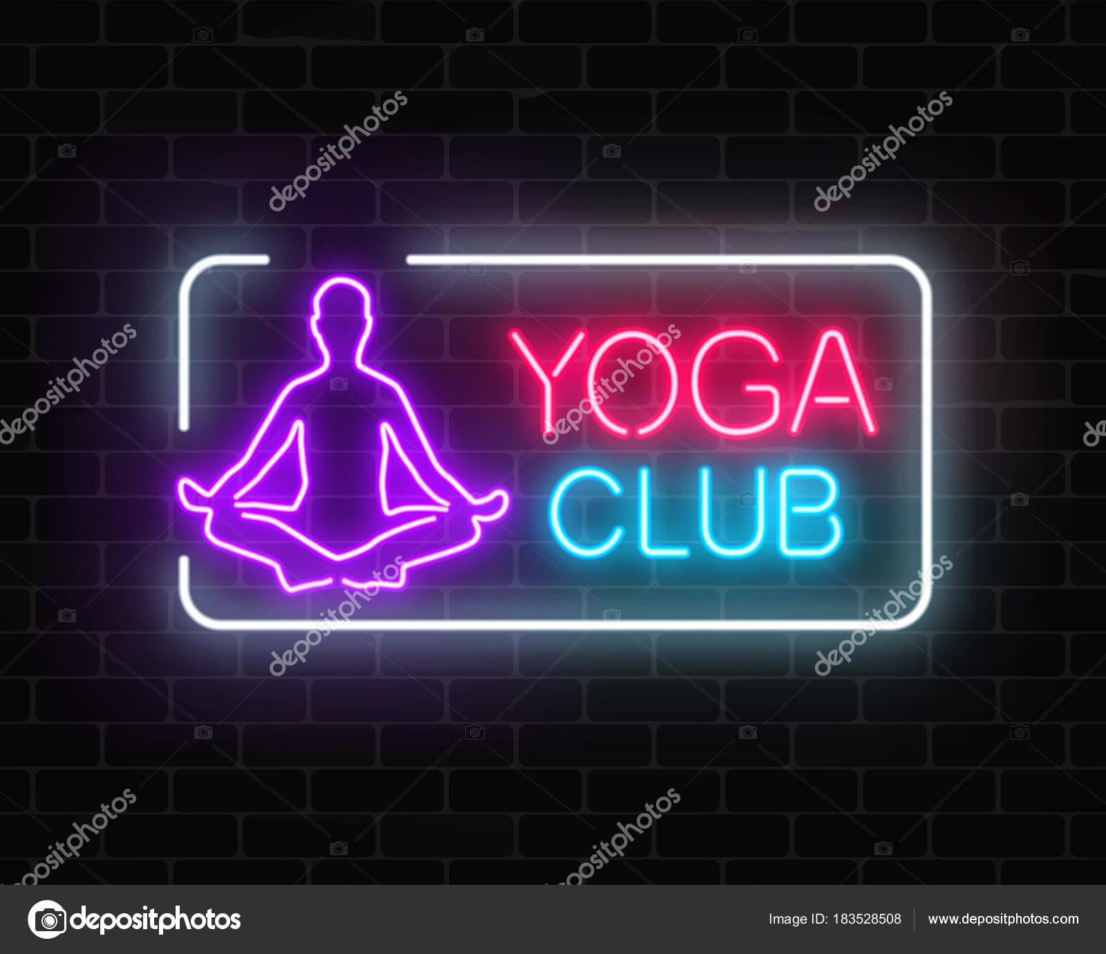 Anuncio de neón que brilla intensamente del club de ejercicios de ...