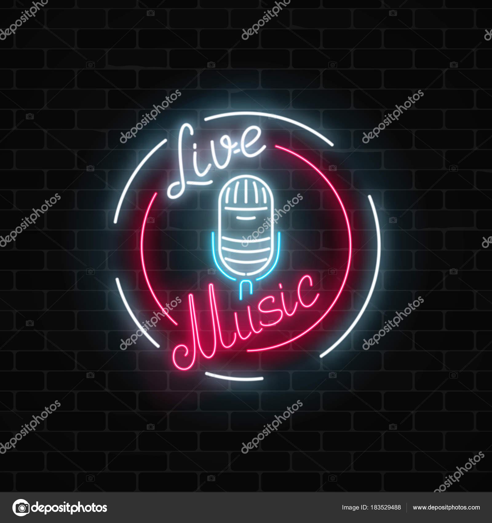 Neon-Schild mit Mikrofon im runden Rahmen. Nachtclub mit live-Musik ...