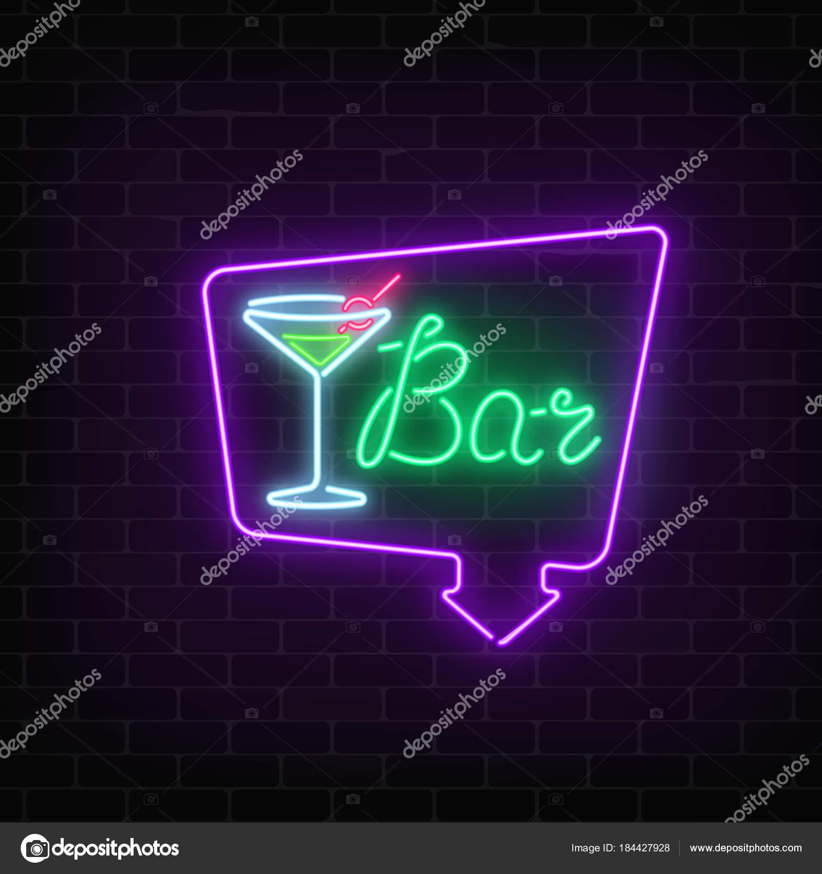 Neon-Cocktail-Bar oder im Café anmelden Rahmen mit Pfeil auf dunklen ...