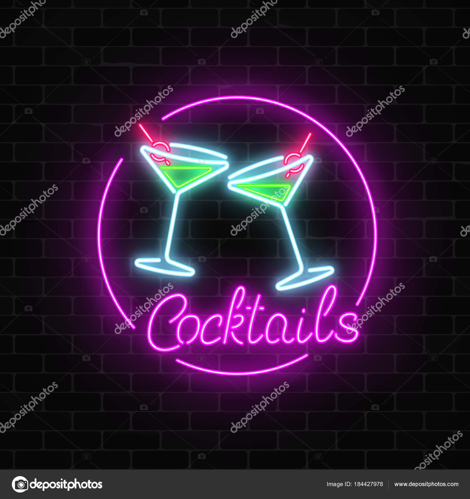 Neon cocktails bar sign on dark brick wall background glowing gas glowing gas advertising with glasses of alcohol shake drinking canteen banner night club invitation vector illustration stopboris Choice Image