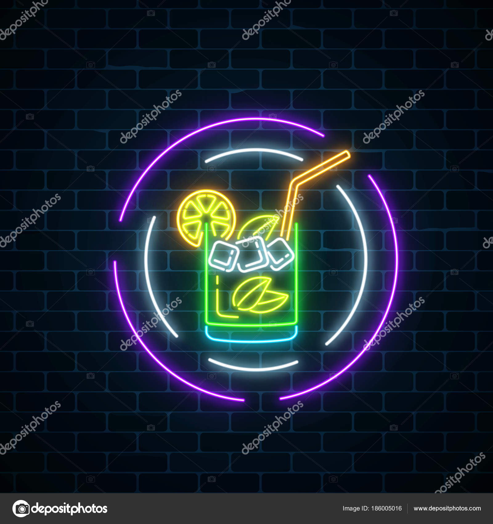 Glow neon symbol of cocktails bar in round frames on dark brick wall glowing gas advertising with caipirinhas shake drinking canteen banner night club invitation vector illustration vector by generationclash85gmail stopboris Choice Image