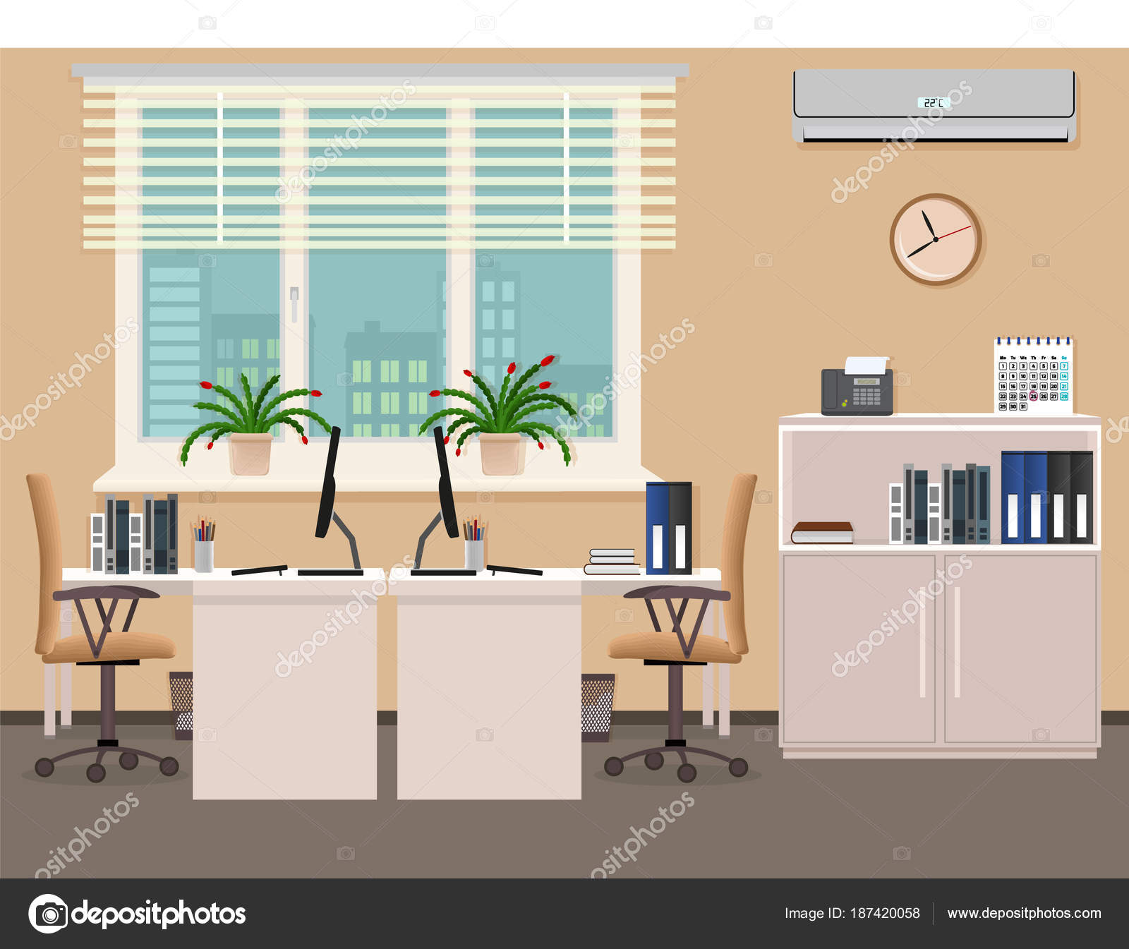 Office Room Interior Design Including Two Work Places With Air Conditioner Workplace Organization In Business Office Stock Vector C Generationclash85 Gmail Com 187420058