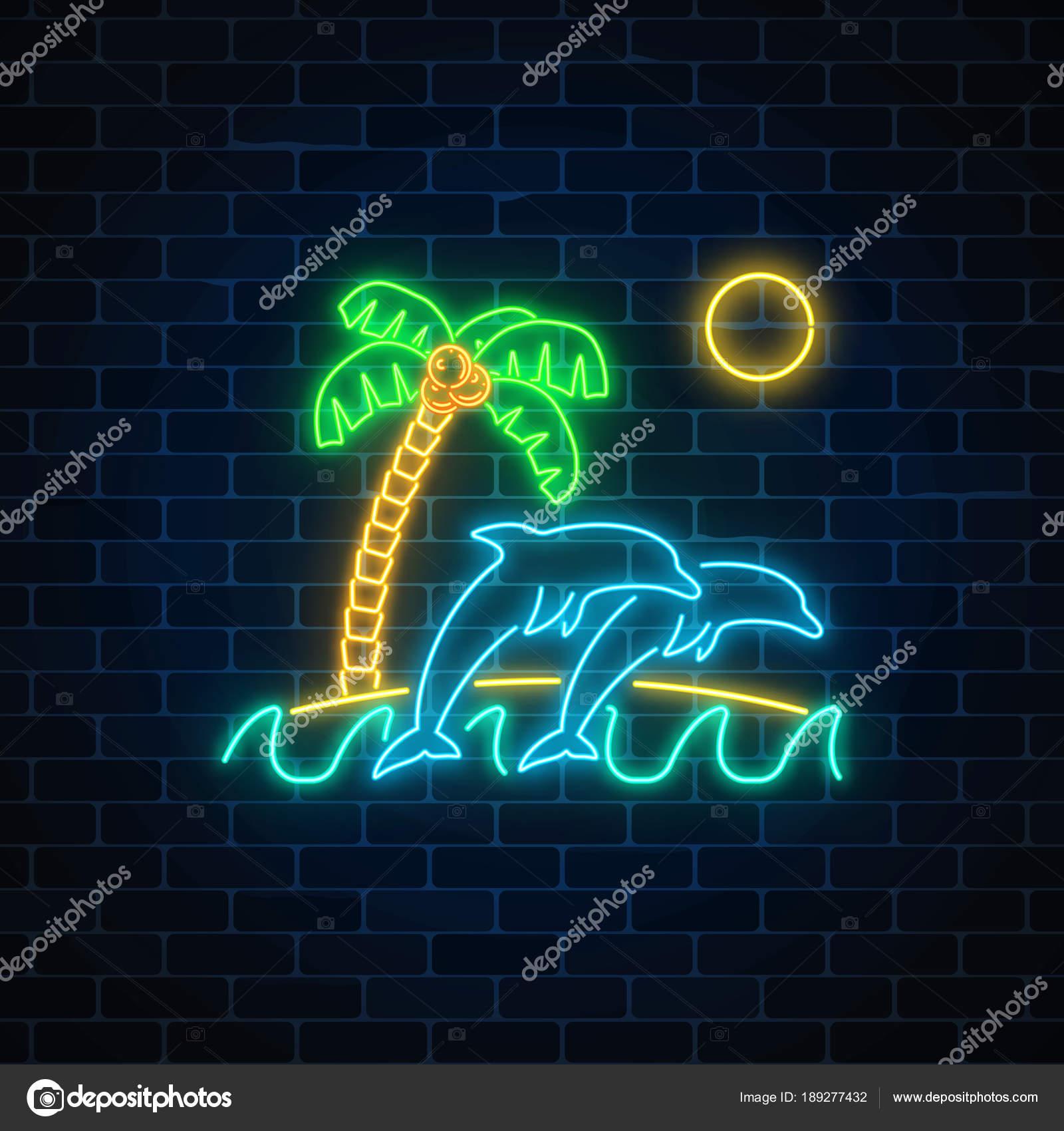 Glühenden Sommer Leuchtreklame mit springen Delphine, Palmen, Sonne ...