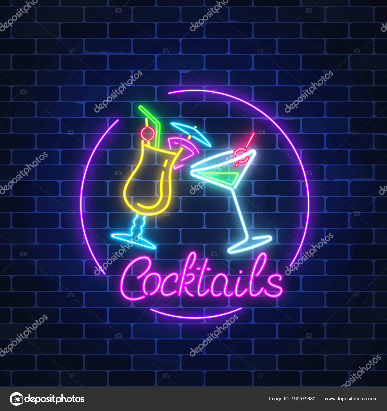 Cocktail Bar Leuchtreklame im Kreis Rahmen mit Schriftzug auf ...