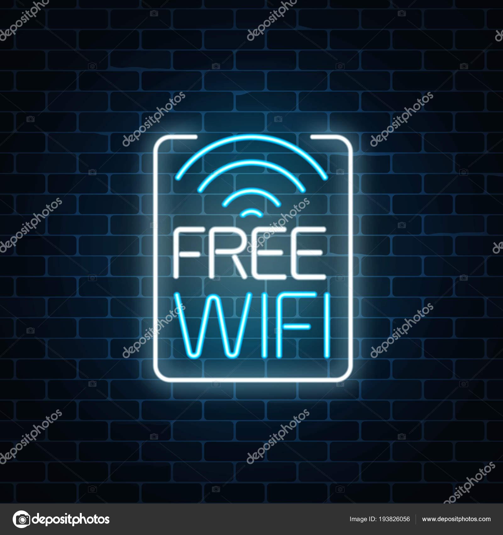 Muestra de neón de zona wifi gratuito en el marco de rectángulo de ...