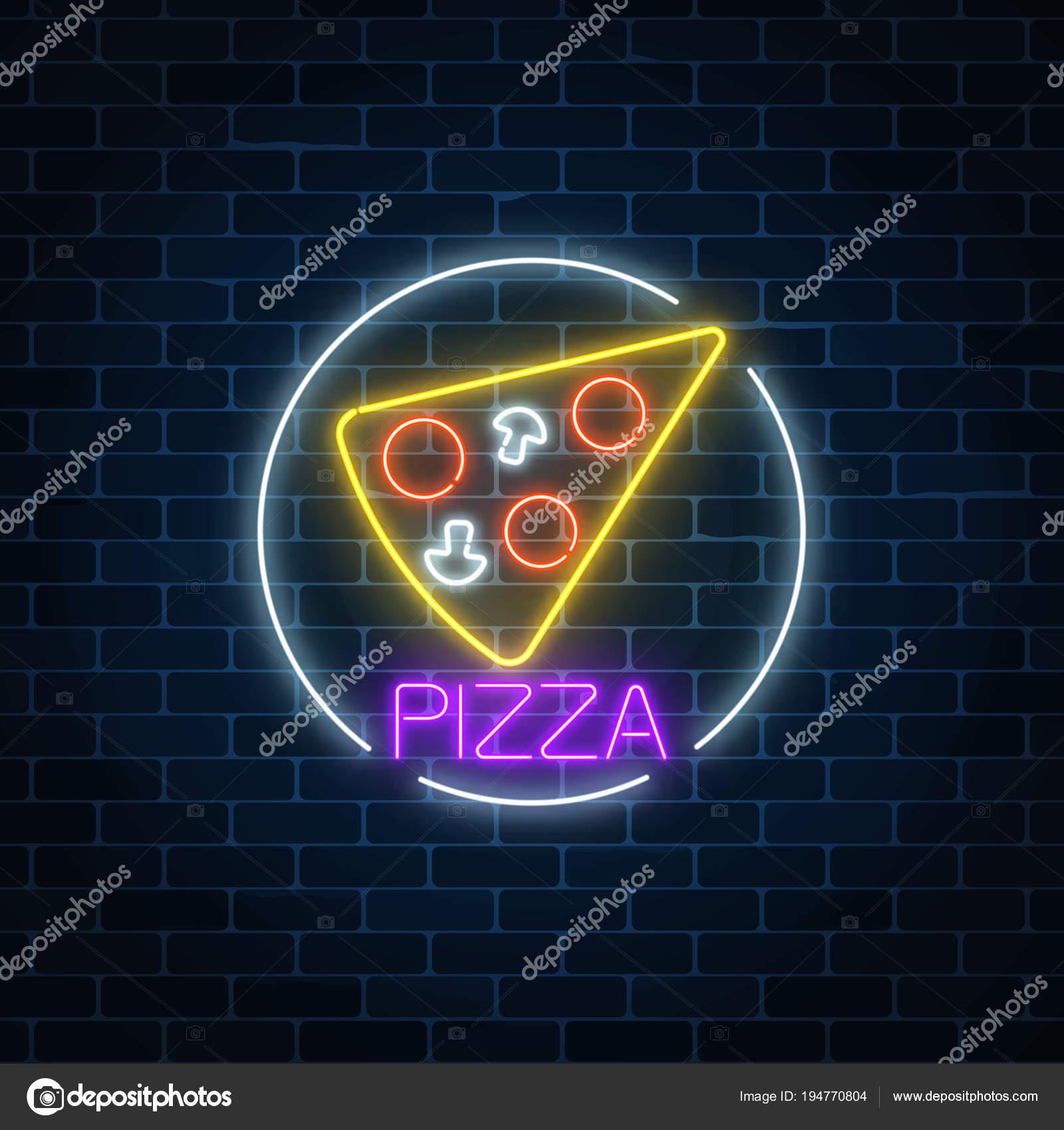 Neon leuchtende Zeichen der Pizza im Kreis Rahmen auf einen dunklen ...
