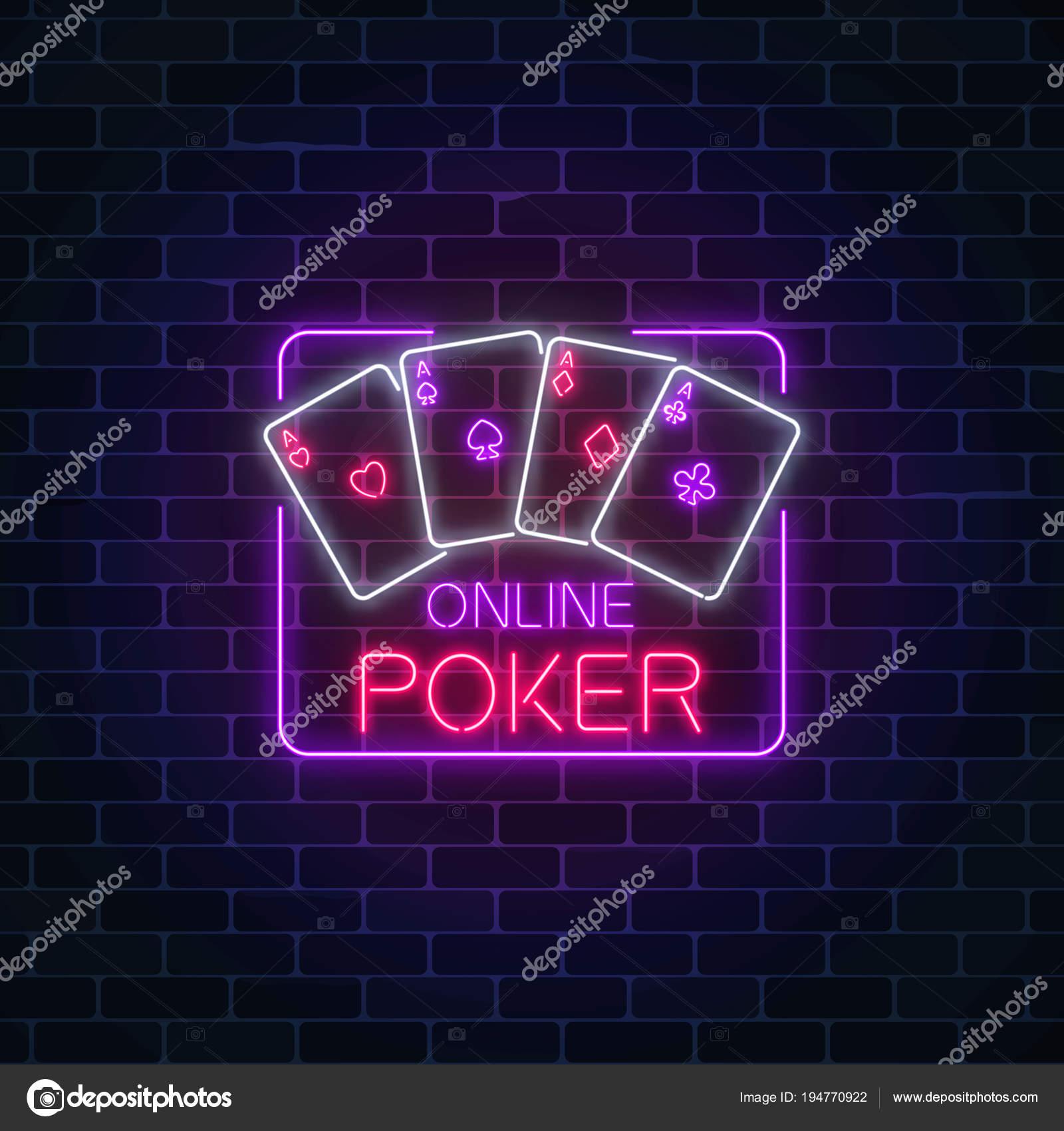 29f41987f69 Rougeoyant au néon d application de poker en ligne dans le cadre du  rectangle sur fond de mur de briques sombres. Enseigne lumineuse de casino.
