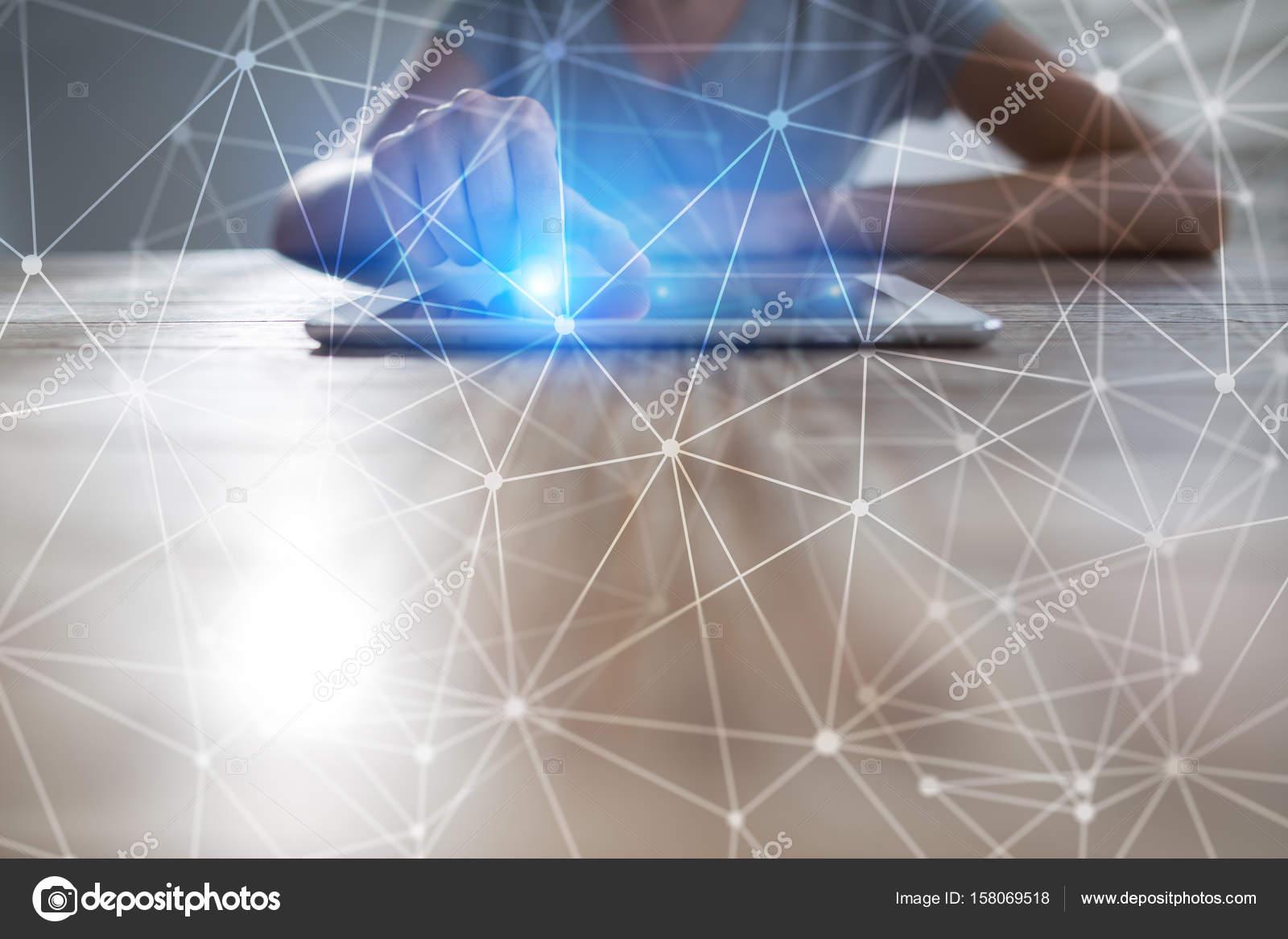 Repülő hálózati gömb 3d háttér. Üzleti technológia és az internet fogalma —  Stock Fotó d03a65f469