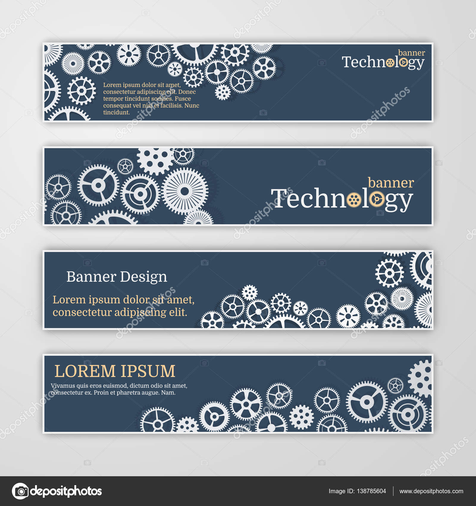 Vector Abstract Gear Wheel And Circuit Board Banner Set Stock Blue Label