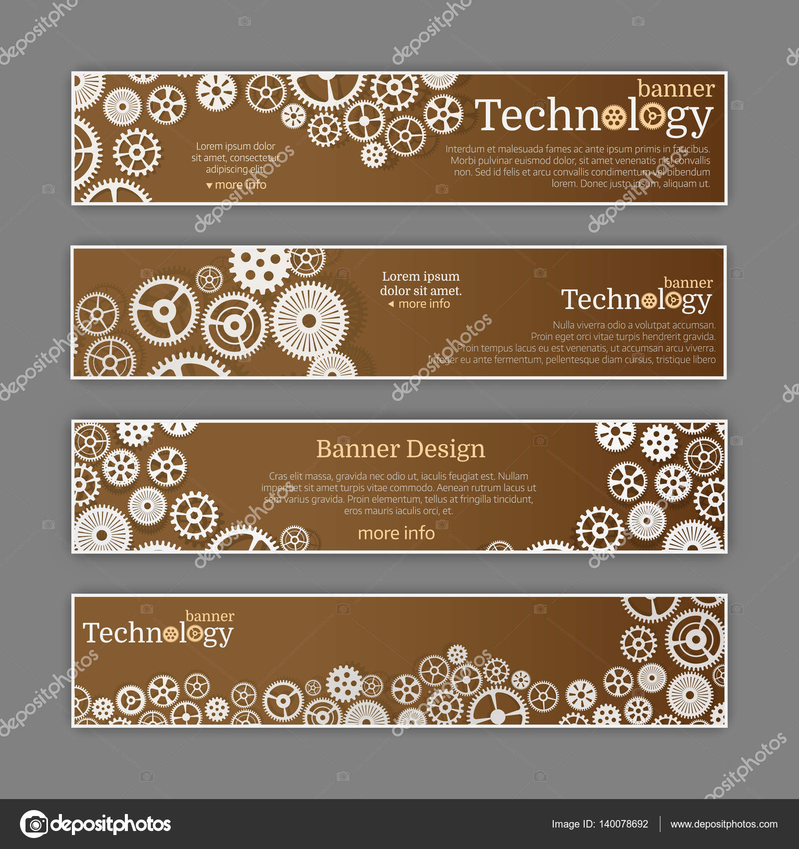 Vector Abstract Gear Wheel And Circuit Board Banner Set Stock Template Technology For Web Or Brochure By Makstorm