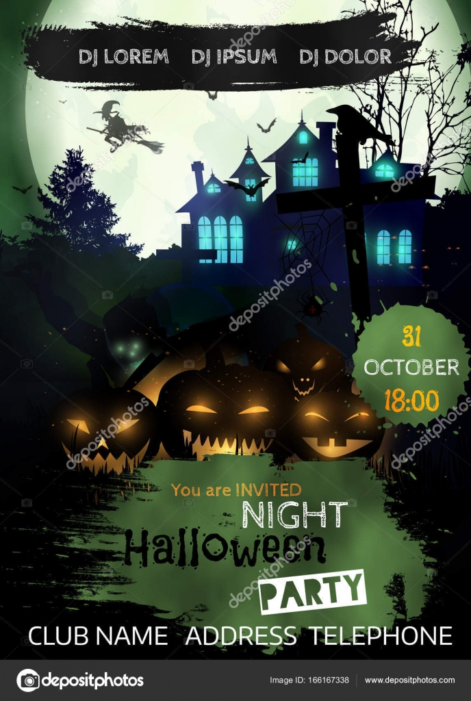 halloween nacht ereignis flyer party vorlage stockvektor