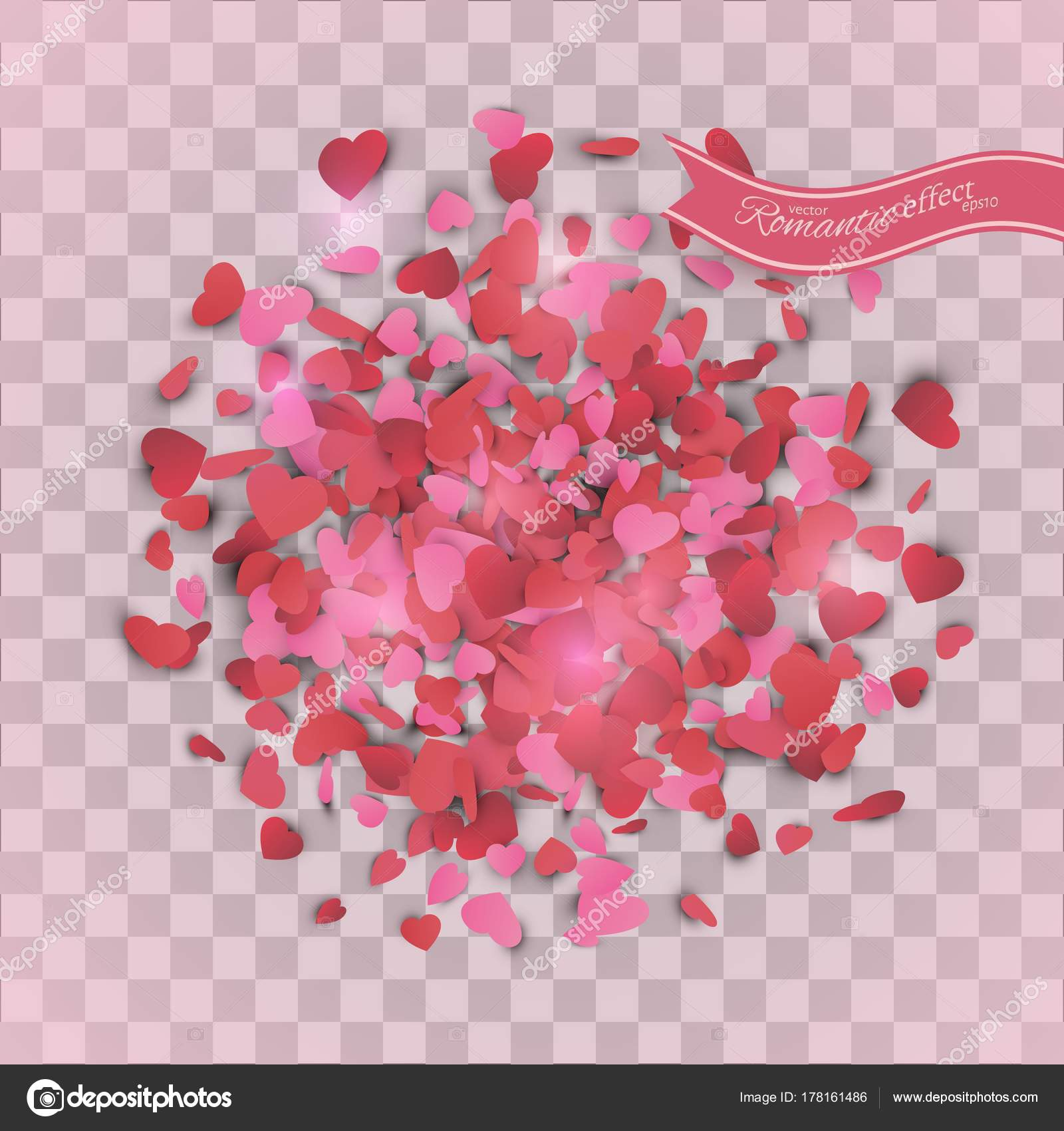 Heart Confetti Valentines Petals Falling Transparent Background