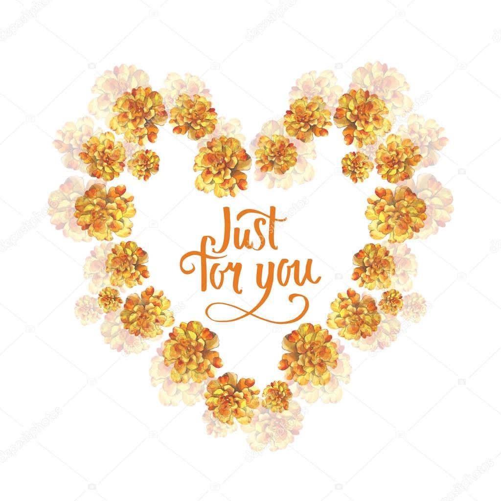 Marigold Jaune Rose Cadre Couronne De Fleur Fond Coeur En Dessin