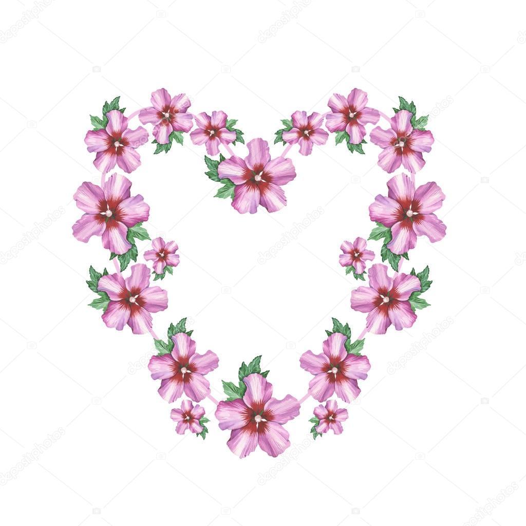 Hibiscus Rose Cadre Couronne De Fleur Fond Coeur Dessin Aquarelle