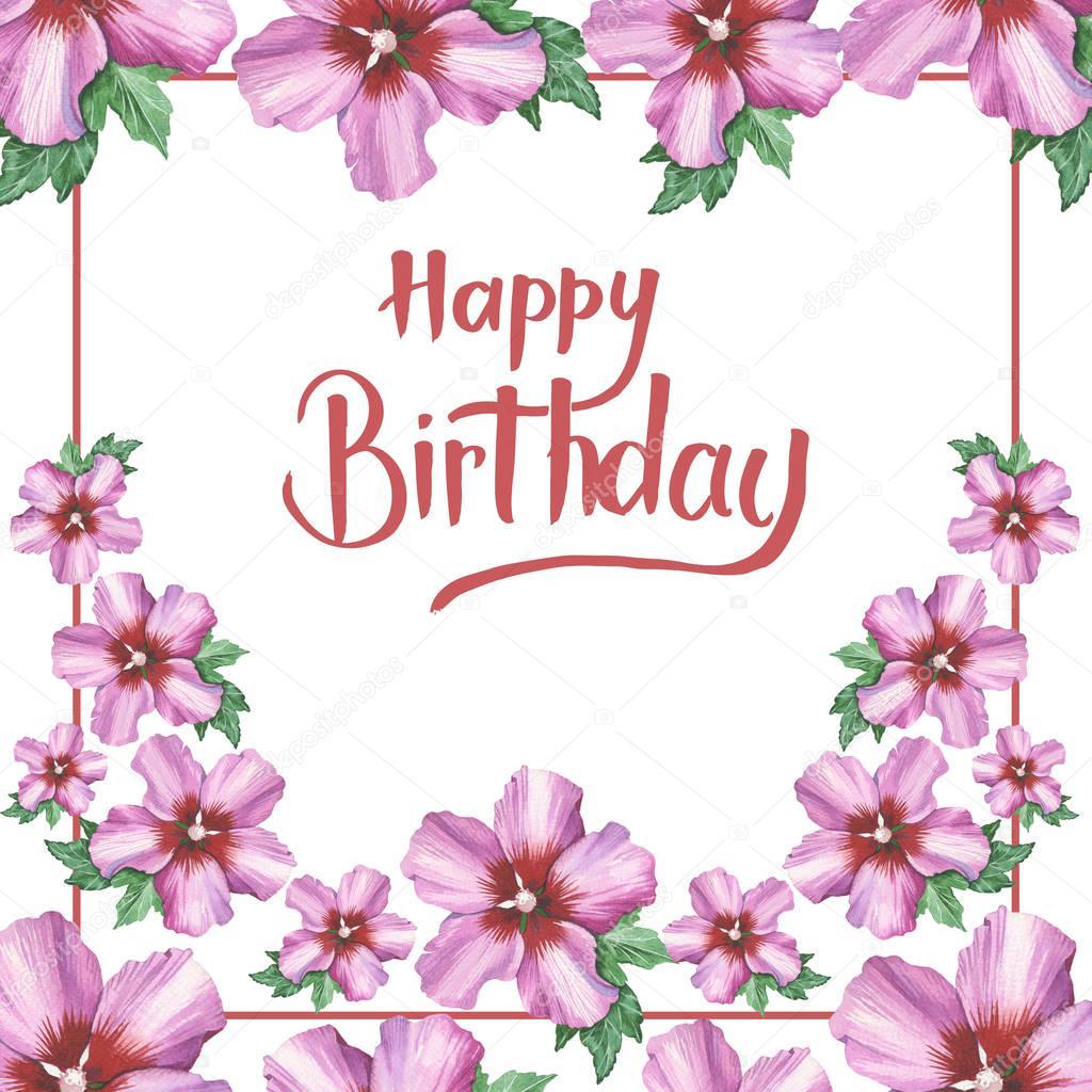 skriva grattis Grattis på födelsedagen hand skriva på hibiscus ros blomma  skriva grattis