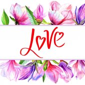Wildflower magnólie květ rám ve stylu akvarelu, samostatný