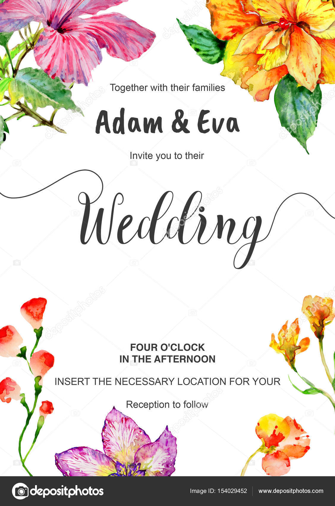 Wedding invitation DiY template handmade watercolor illustration ...