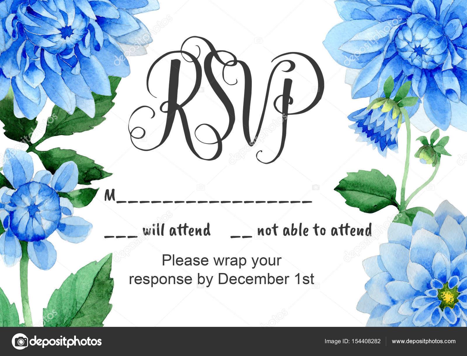 Hochzeitseinladung Diy Vorlage blau Dahila handgemachte Aquarell ...