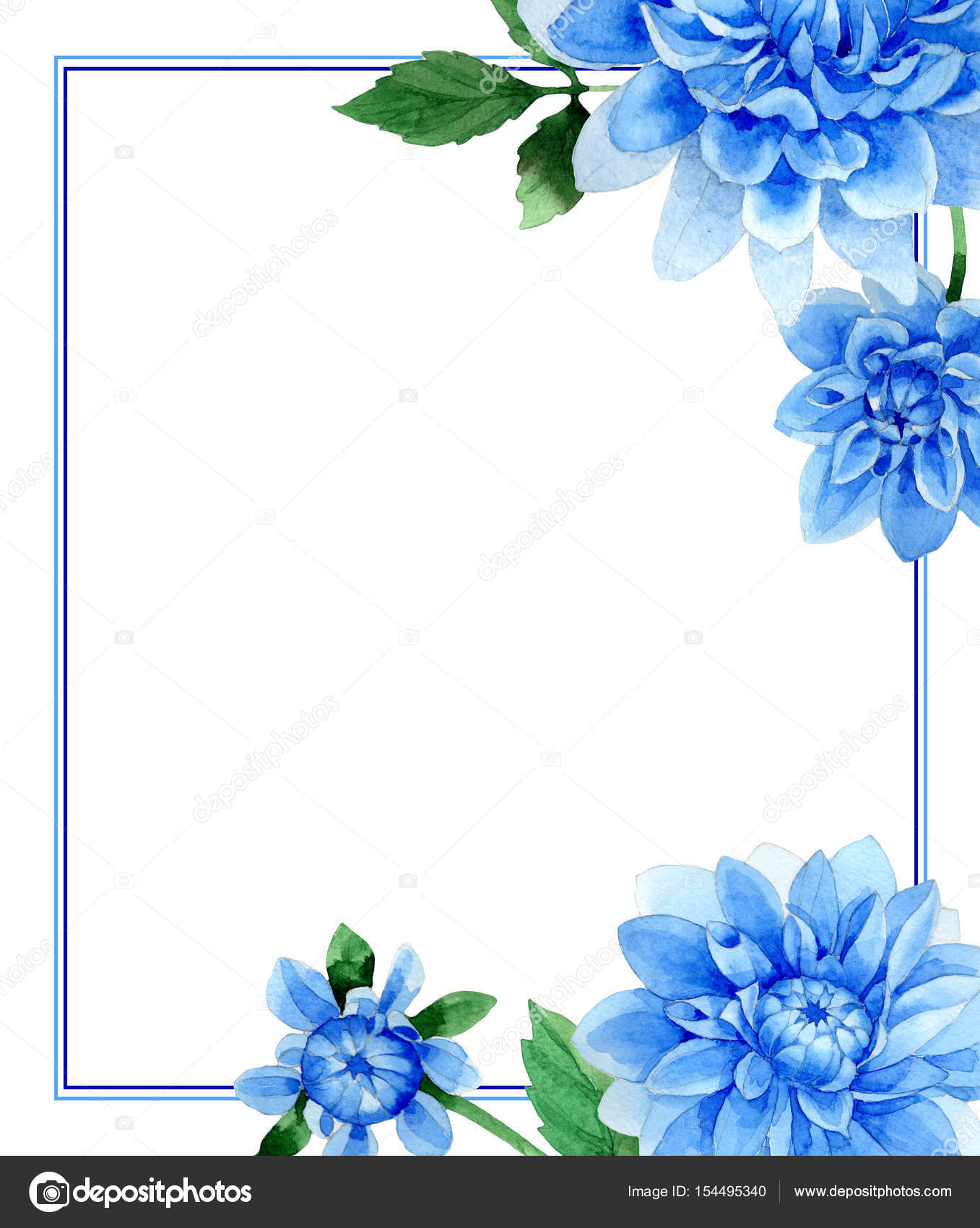 Wedding Invitation Diy Template Blue Dahila Handmade Watercolor