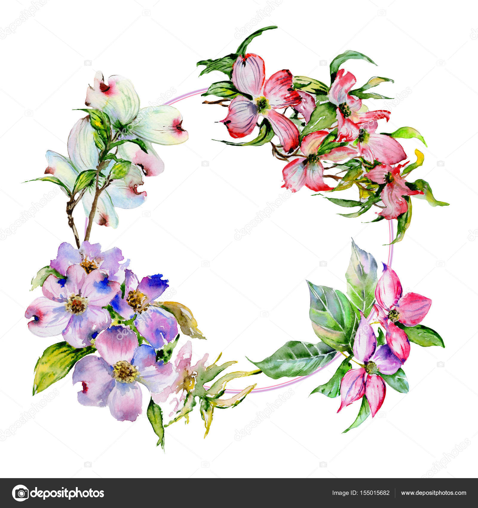 Wildflower dogwood flower frame in a watercolor style isolated ...