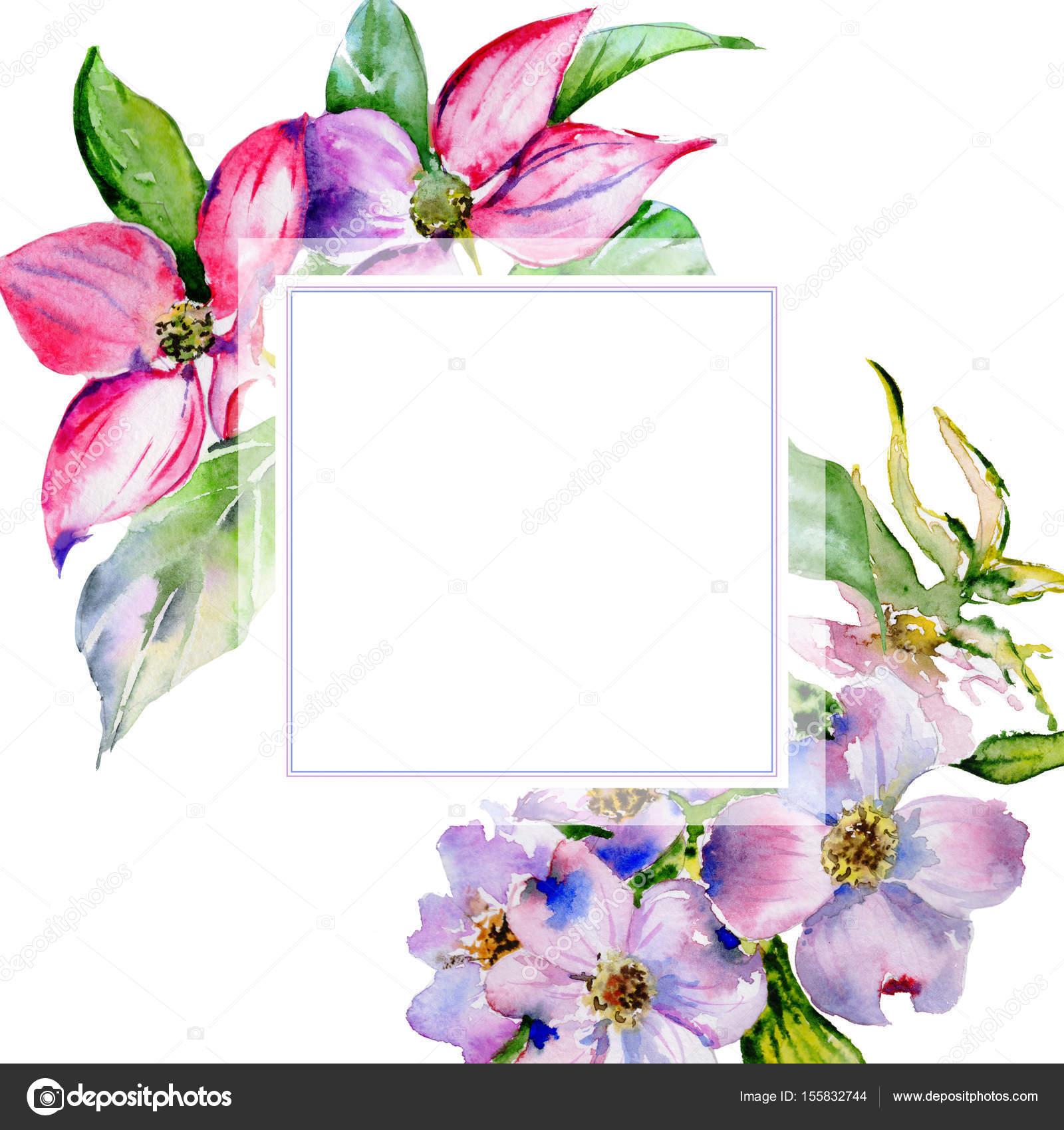 Marco de flor de Cornejo flores silvestres en un estilo acuarela ...