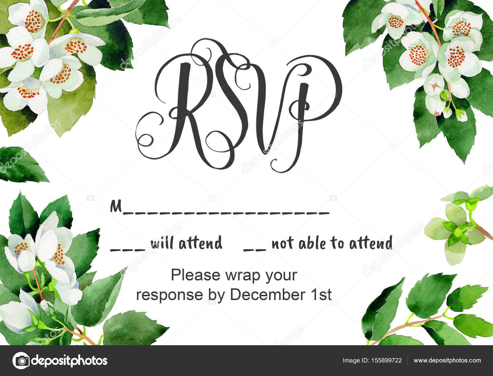 Wedding invitation DiY template Chubushnik handmade watercolor ...