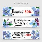 Wildflower třešeň promo prodej šablona nápisu ve stylu akvarelu, samostatný