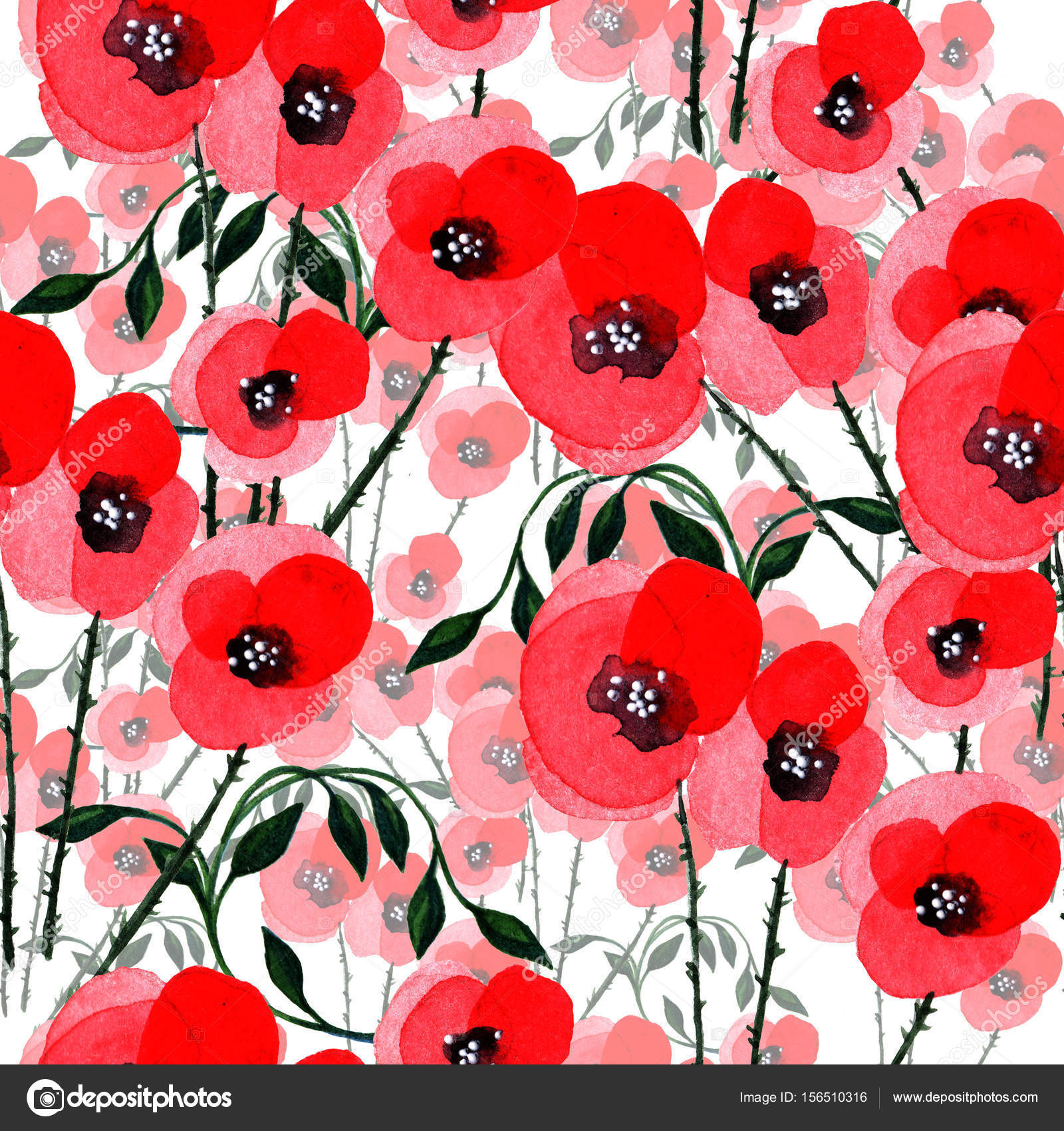Wildflower Poppy Flower Pattern In A Watercolor Style Isolated
