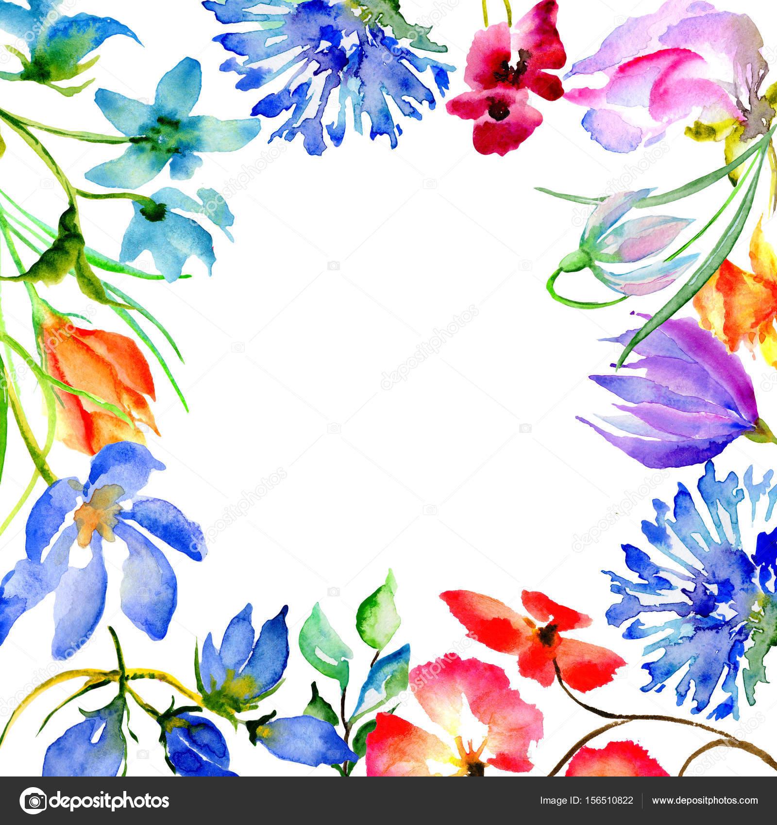 Wildflower Blumenrahmen im Aquarell-Stil isoliert — Stockfoto ...